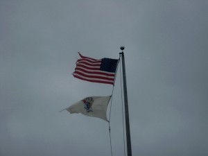 Flags Whipping at Entry to Island Beach  Noreaster full blast
