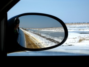 OBJECTS IN MIRROR ARE CLOSER -- frozen impoundments at the Brig