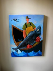 Maine FFisherman Painting that reminds me of Milton Avery, 21st Century Version