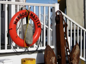"""Down to the Sea"", Harbormaster's Life Preserver and Antique Salvaged Anchor, Provincetown Wharf"