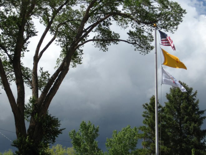 Ghost Ranch Flags and Clouds July 2016