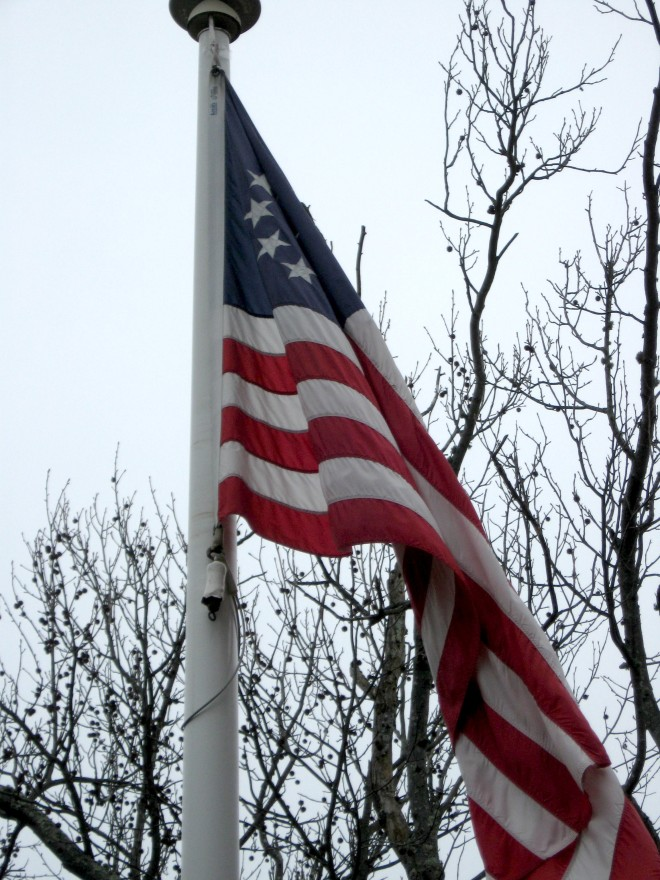 13 Star Flag Chestnut Neck Revolutionary War Monument Winter 2017