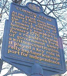 thomas paine sign re Common Sense from Internet